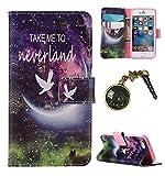 für Smartphone Apple iPhone 5 5S SE Hülle,Echt Leder Tasche für Apple iPhone 5 5S SE Flip Cover Handyhülle Bookstyle mit Magnet Kartenfächer Standfunktion + Staubstecker (2BQ)