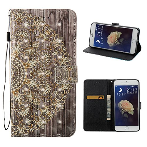 iPhone 7 Plus Tasche Leder, iPhone 7 Plus Ledertasche, iPhone 7 Plus Case, Moon mood® Ledertasche für Apple iPhone 7 Plus (5.5 Zoll) , PU Leder Cover Hülle Folio Handyhülle Gemalt Muster Premium Bumpe 3 Golden Blume