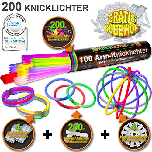 200 Knicklichter 7-FARBMIX Testnote: 1,4 'SEHR GUT' inkl. 204 Verbindern