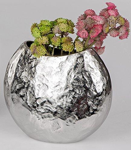 Formano Aluminium Vase oval Silber antik Schlichte Eleganz in Hammerschlag Optik (22 cm) (Silber Vasen)