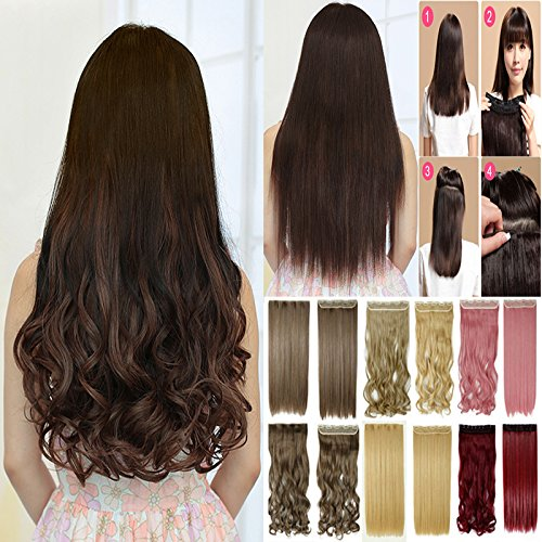 Artifice Super Volume 200G 26 Inch 5 Clips Curly/ Wavy Hair Extension Maroon With Brown