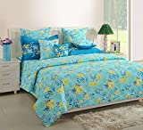 #8: Swayam Turquoise Colour Fitted Double Bed Sheet with Pillow Covers