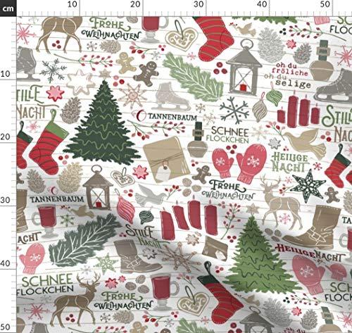 Geschenkpapier, Deutsch, Weihnachten, Markt, Tradition Stoffe - Individuell Bedruckt von Spoonflower - Design von Zirkus Design Gedruckt auf Bio Musselin