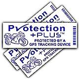 5x motocicleta gps seguridad stickers-pp design-blue en white-tracker device-motorcycle bicicleta advertencia Señales De Seguimiento