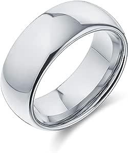 Bling Jewelry Semplice Semplice Cupola Larga Nero o Argento Coppie Anello da Sposa in Titanio per Uomo per Donna Comfort Fit 8MM Taglia 5-14