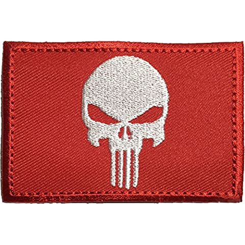 Tactical Morale Operator Punisher Skull Sew on Iron on Embroidered Applique Patch 2x3 Red - By Ranger Return (RR-IRON-PUNI-0RED) by Ranger