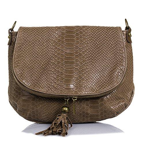 FIRENZE ARTEGIANI.Frauen Tasche aus echtem Leder.Tasche Schultertasche echt Leder Frau.Gravierte Leder Tasche Schlange.Halbmond am Revers vorne.MADE IN ITALY.VERA PELLE ITALIANA.29x23x9 cm.Farbe:braun (Halbmond-tasche)