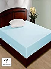LatestHomeStore Non Wave Waterproof and Dustproof Double Bed Fitted Mattress Protector with Zip Clourse(6x6 Inches, Blue)