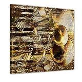 Kunstdruck - Trompete und Piano abstrakt - Bild auf Leinwand - 40x40 cm - Leinwandbilder - Urban & Graphic - Kunst - Musikinstrumente - grafische Darstellung