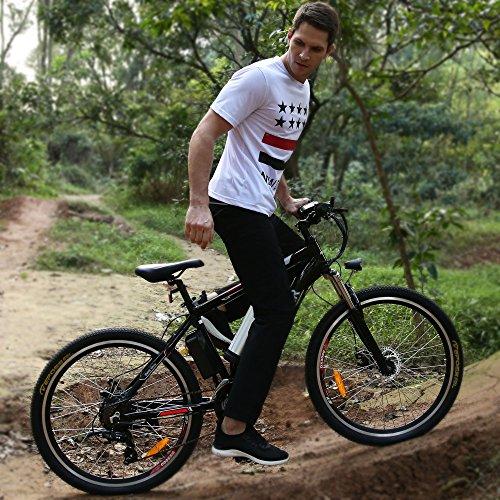 Elektrofahrrad 26 Zoll E- Bike Mountainbike, 25-50km/h Meilen Kilometerstand, 36V 8AH Abnehmbarer Akku and 21 Gang Getriebe
