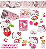 Unbekannt 16 TLG. Set _ Fensterbilder + Wandborte -  Hello Kitty  - incl. Name - Sticker Fenstersticker Aufkleber - selbstklebend + wiederverwendbar - Fensterbild / z..