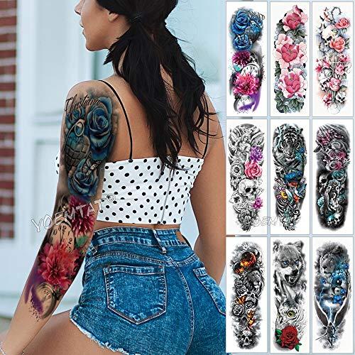 Tzxdbh tatuaggio manica grande braccio blu rosa farfalla cuore impermeabile autoadesivo del tatuaggio temporaneo orologio da tasca uomini fiori pieni