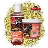 EMMA ♥ Cura del Cavallo – Set 2 Pezzi, Shampoo per Cavalli in Rosa con Profumo di Fragola, luccicante in Rosa per la Scatola di Pulizia.