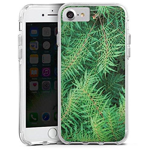 Apple iPhone X Bumper Hülle Bumper Case Glitzer Hülle Farn Dschungel Wald Bumper Case transparent