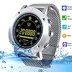 Bluetooth Smart Watch Fitness Tracker Ip68 Waterproof Smart Bracelet With Pedometer Stopwatch Sms Call Notification Camera Remoter For Android Iphone Ios Samsung Huawei Sony Lg Htc Google Kids Women Men (Silver Steel Strap)