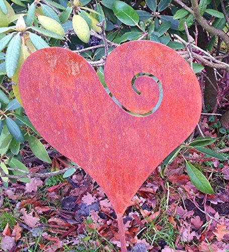 antikas – Un grand Coeur avec piquet pour la Pot, culture en terrasses – Décoration de jardin – Cadeau de Mariage Coeur