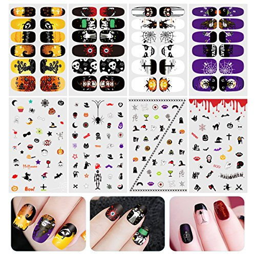 ETEREAUTY Nagelsticker leuchtende Nail Sticker mit Halloween Designs, 8 Blätter