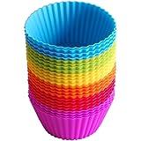 IdealHouse - 24moldes de silicona para magdalenas. Moldes reutilizables con colores del arcoíris, para pasteles, púdines cre