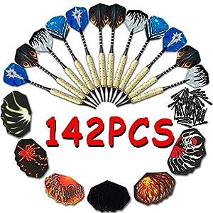Darts 142 Stück Soft-Dartpfeile (12 brass darts + 100 spitzen + 30 flights)...