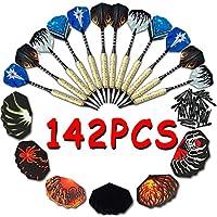 Fléchettes Pointe Molle, Darts Set 142 Pcs (12 Fléchettes Complètes + 30 Ailettes + 100 Pointes) VOOA