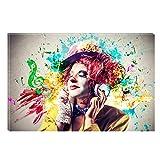 Startonight Impression Sur Toile Clown et la Musique, Art Encadré Imprimée Tableau Motif Moderne DécorationTendu Sur Chassis Prêt à Accrocher 80 x 120 cm