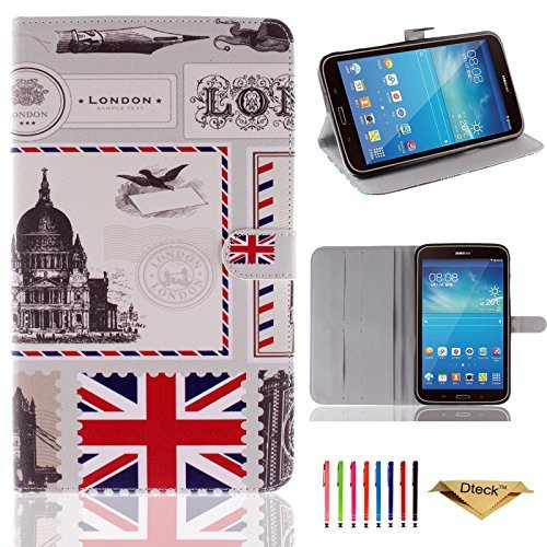Tab 3 8.0 Case, Dteck (TM) [SM-T310/T311] Slim Fit Lightweight Colorful Painted PU Leather Holder Support Stand Flip Case Cover for Samsung Galaxy Tab 3 8.0 inch SM-T310/T311 (Postcard From UK)  available at amazon for Rs.2709