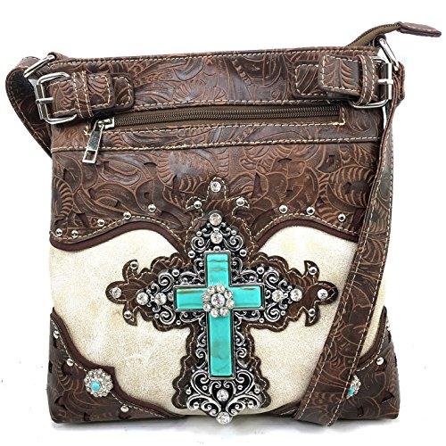 Justin West Western-Handtasche mit Schulterriemen, lasergeschnitten, Türkis, Kreuz