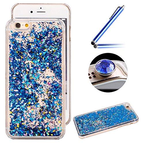 iPhone 7 Coque,Ultra-minces TPU Silicone Coque Pattern étui Pour iPhone 7,Housse Gel Transparent pour iPhone 7,Interne Liquide Fluide de Scintillement Mode [Hourglass Sablier Rose Motif] Case Cover de Bleu