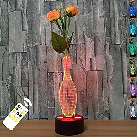 FARS 3D Visual Lamp Optical Illusion Led Night Light, Amazing 7 Color Changing Vase Shape Touch Sensitive Switch Lamps Remote Control tablet Desk lamp with Acrylic Flat, ABS Base,Mrio USB Charge for Home Decor Good