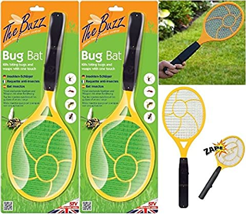 2 x Bug Zapper Racket Electric Mosquito Fly Swatter Insects Electric Bat Trap New Wilsons Direct