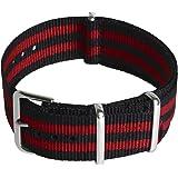CampTeck Bracelet (24|22|20|18mm) Watch Strap Bracelet de Montre de Nylon avec Boucle en Acier Inoxydable pour Montres avec B