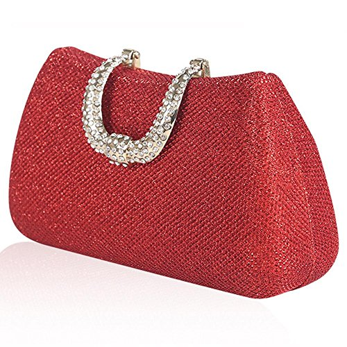 damen abendtasche strass hochzeit braut abschlussball kosmetik handtasche mini kupplung. (18x 10cm) red