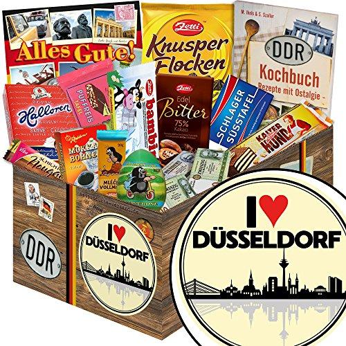 I love Düsseldorf | Schokolade Korb | Geschenkkorb | I love Düsseldorf | Geschenk Papa Düsseldorf | mit Mokka Bohnen, Kalter Hund und mehr