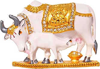 ART N HUB Handcrafted Decorative Kamadhenu Brass Cow and Calf Statue Divine 24K Gold Plated Spiritual Vastu Nandi Pooja Figurine Sculpture (White)