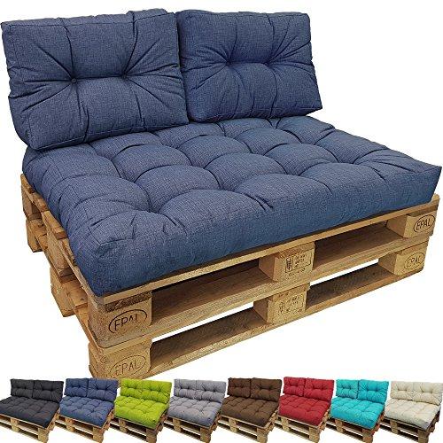 PROHEIM Set Tino Lounge Coussins pour Palette Europe de pour extérieur et intérieur - 1 Coussin d'assise 120 x 80 x 18 cm + 2X Coussins Petits de Dossier 60 x 40 x 10-20 cm, Couleur:Bleu Foncé