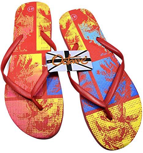 Octave® - Infradito da donna per l'estate e la spiaggia, diversi stili e colori Tropical Design - Red