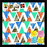 ArtzFolio Mixed Triangled 2 Printed Bulletin Board Notice Pin Board cum Black Framed Painting 12 x 12inch