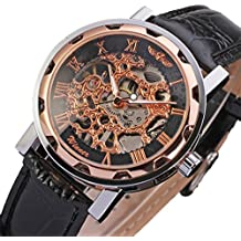 GuTe - Reloj de pulsera mecánico automático unisex (steampunk, pulsera negra, diseño esqueleto), color oro rosa