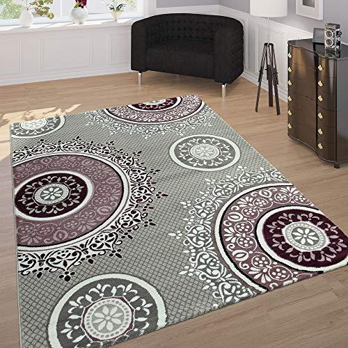 Paco Home Edler Designer Teppich Mit Orient Muster Ornamente Mandala Grau Lila Weiß, Grösse:80x300 cm