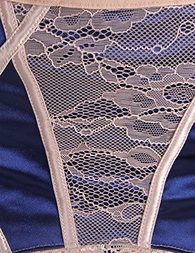 8e0a61ad13e ohyeahlady Women s Lace Patchwork Lingerie Set Steel Ring Bra Set with Garter  Belt Panty