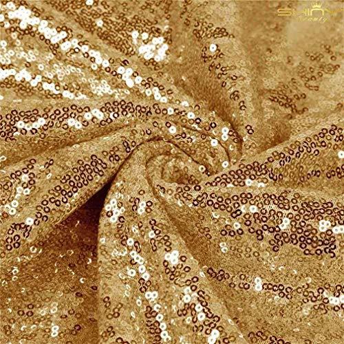 ShinyBeauty Paillettenstoff 2 m Gold Stretch Paillettenmaterial Stoff Paillettenstoff durch den Hof Glitter Kulisse C0104 (Hof Den Durch Glitter Stoff)