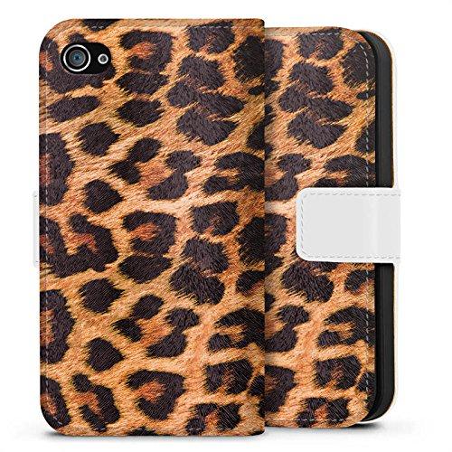 Apple iPhone X Silikon Hülle Case Schutzhülle Leopard Muster Fell Sideflip Tasche weiß