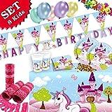 EINHORN Geburtstag-Deko-Set 52-teilig zum Kindergeburtstag Mädchen und EINHORN Motto-Party für 8 Kids