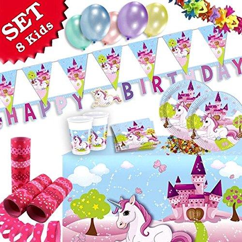 (EINHORN Geburtstag-Deko-Set 52-teilig zum Kindergeburtstag Mädchen und EINHORN Motto-Party für 8 Kids)