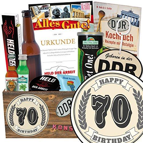 Geschenk zum 70. | Männer Geschenke | Geschenk Korb | 70 Geburtstag Geschenke Mann | INKL DDR Kochbuch