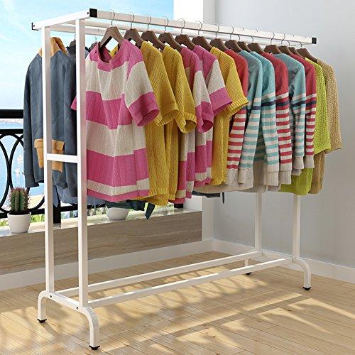Abbigliamento indumento rack doppia,cappotto organizzatore deposito scaffalatura asta di vestiti mensola di immagazzinaggio unità ingresso 2-tier metal pavimento mensola-a 150*50*145cm(59*19.6*59inch)
