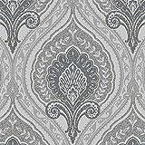 Vlies Tapete Klassisches Barock Ornament grau silber gold metallic JC3009-5