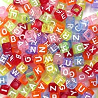 "500pcs Beads Letter Beads Mixed Assorted Translucent Color Acrylic Plastic Beads Alphabet Beads for Jewellery Making ""A-z"" Cube Beads Size 6x6mm or 1/4"" for Bracelets, Necklace and Kid Jewellery"