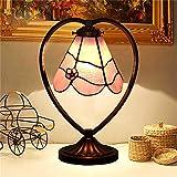 Gweat European-Style Dekorative Kristallglas Tischlampe Rosa Romantische herzförmige Schlafzimmer Nachttisch Cafe Lampe (Farbe : Pink)