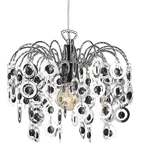 Moderne Chrom Wasserfall Kronleuchter leichte Montage Hngelampenschirm mit schwarzen Acryl Perlen von Haysoms